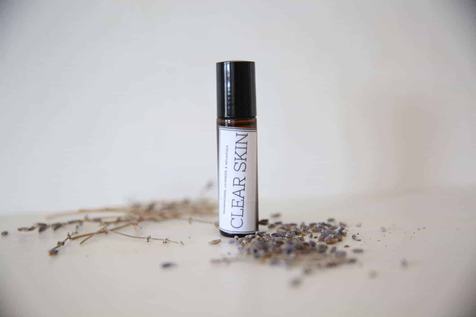 The best essential oil roller bottle blend for clear skin, skin imperfections, acne, blemishes, and rashes.