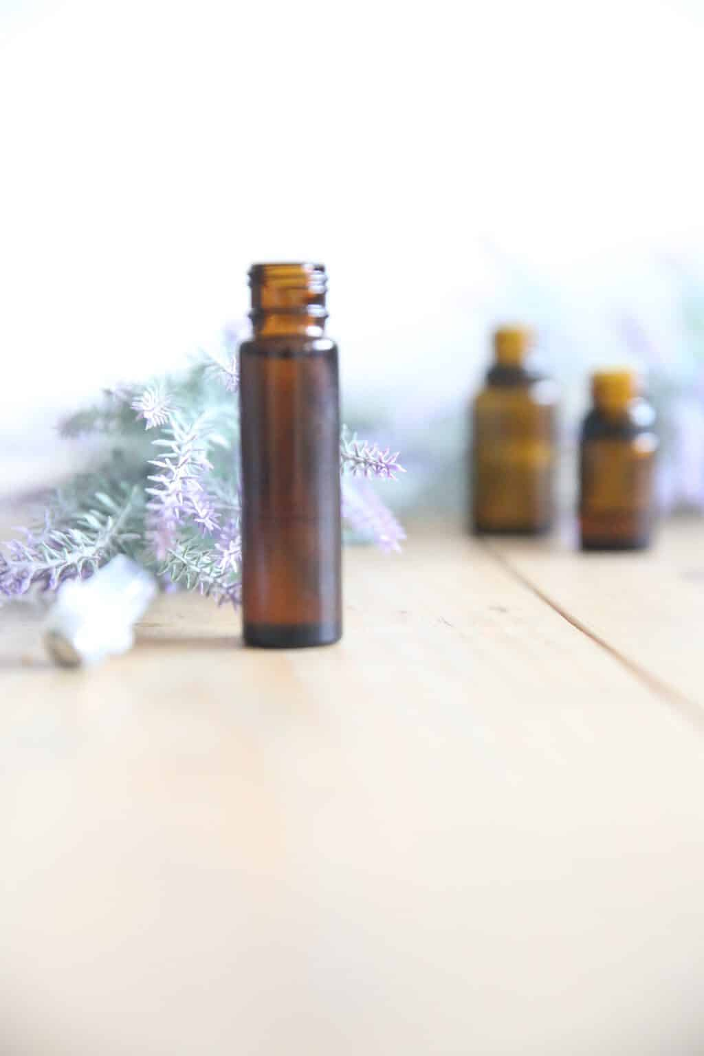 Use a lavender essential oil roller bottle for healthy sleep and any skin imperfections.
