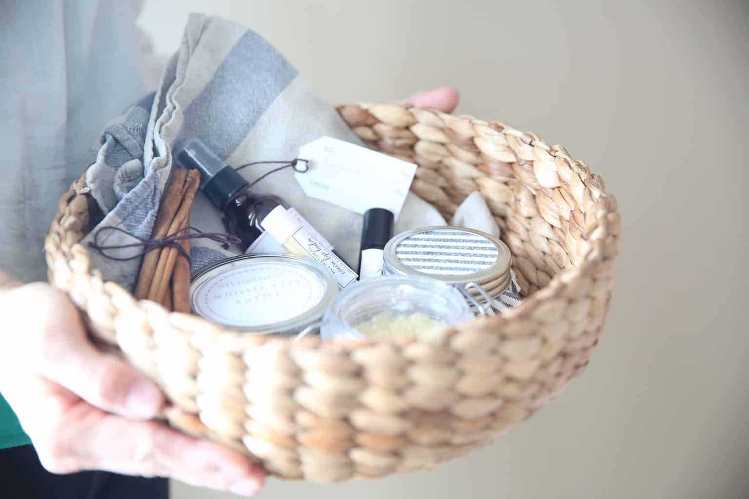 Learn how to make several diy all natural products to create a beautiful gift basket for everyone on the Christmas list.