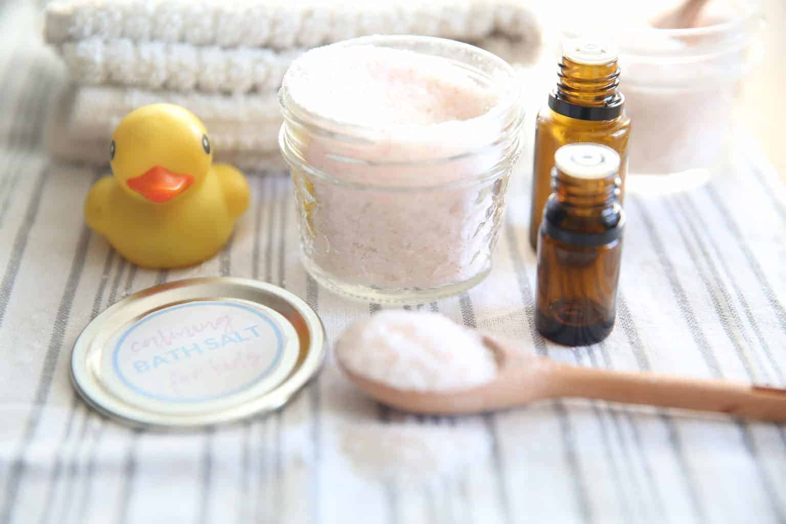 Essential oil infused bath salts for kids can be used to promote a better night sleep.