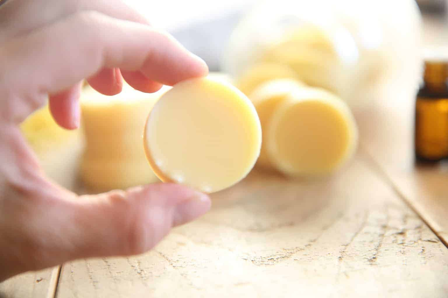 Learn how to make the best homemade lotion bars with a few simple ingredients, scented with essential oils.