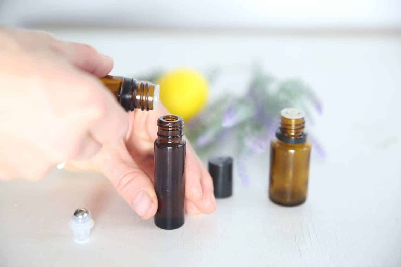 The best essential oils for seasonal allergies with a roller bottle recipe.