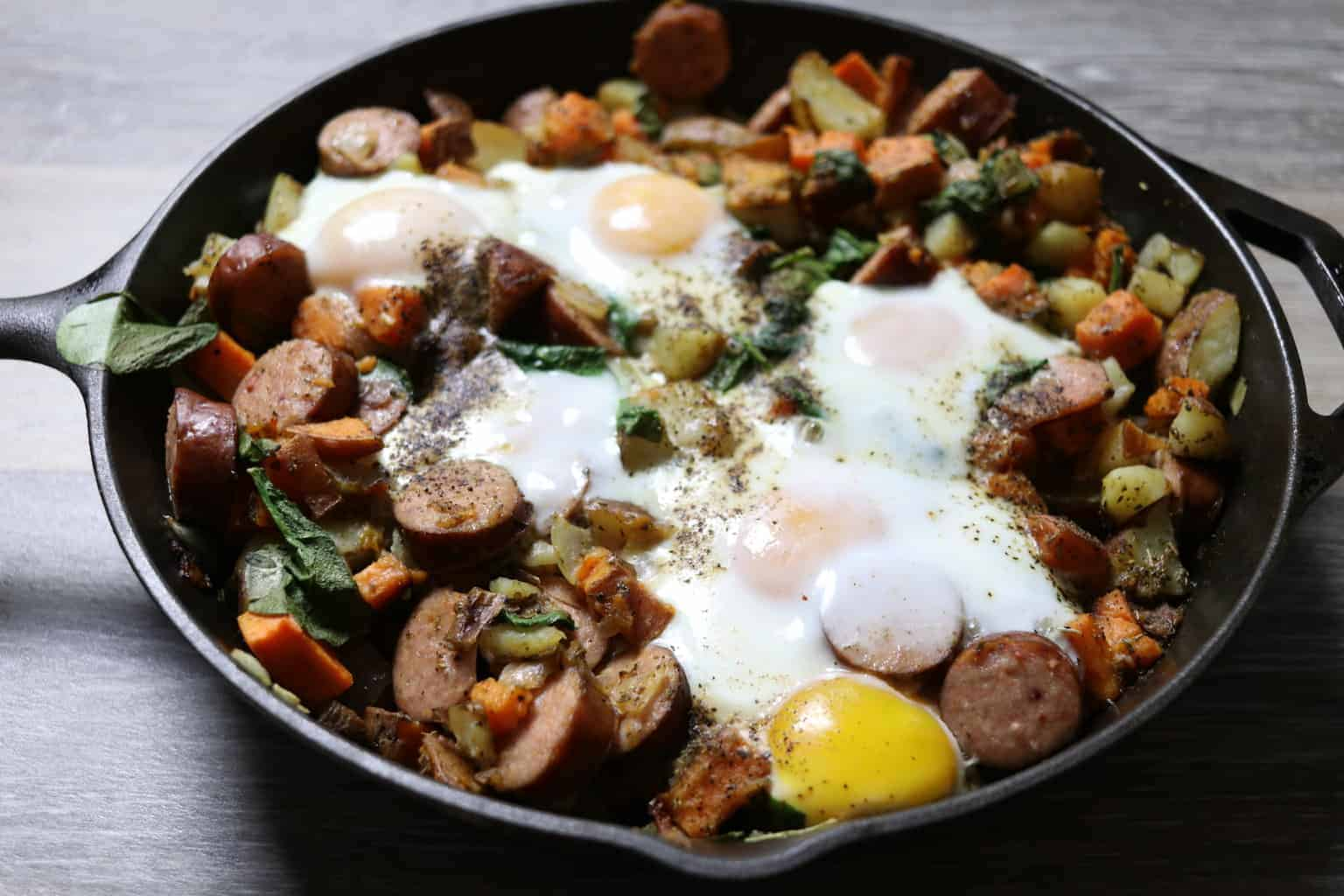 How to make a whole 30 approved polish sausage, sweet potatoes, egg hash. Easy whole 30 breakfast for family.