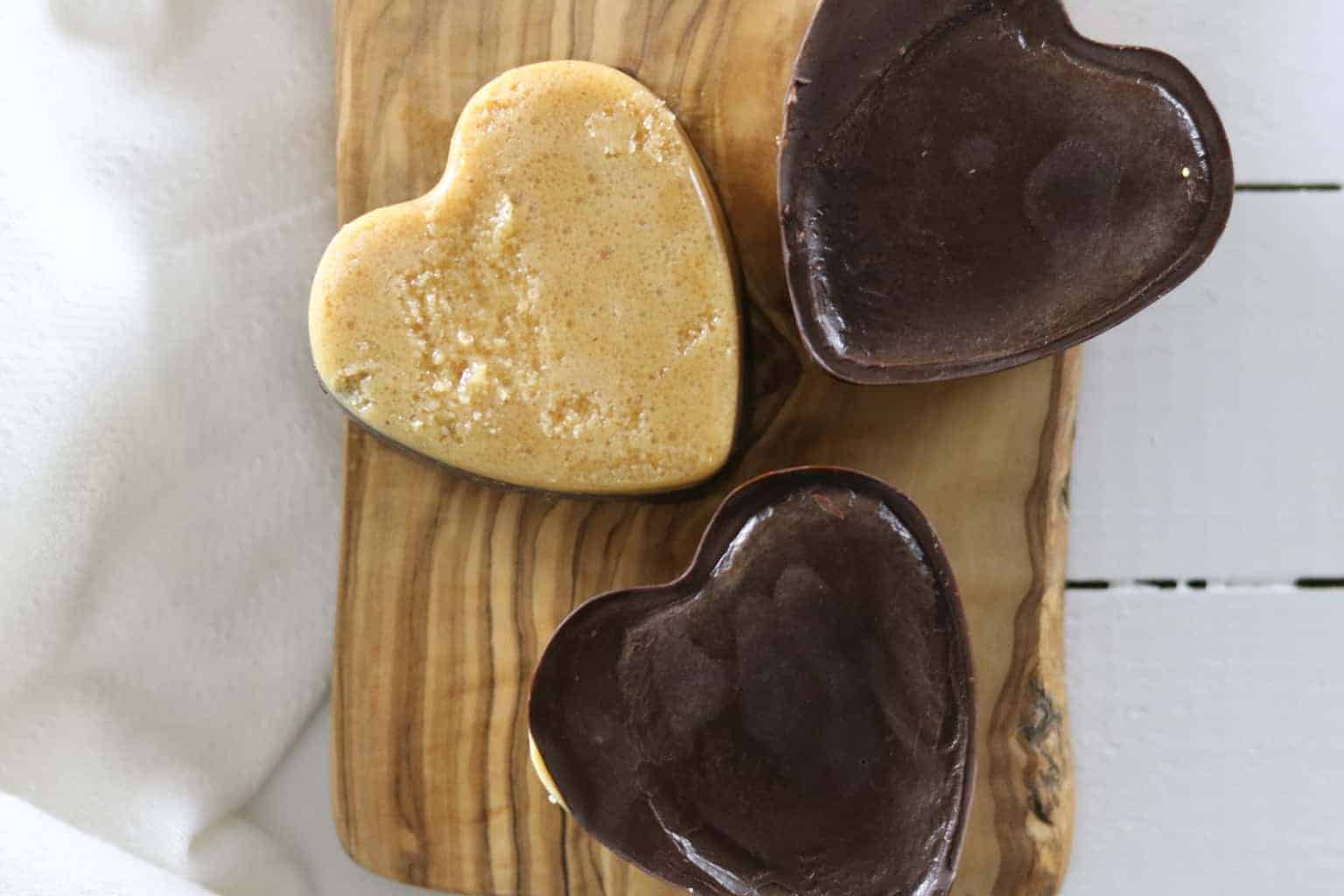 Learn how to make a kid friendly, paleo chocolate peanut butter shape heart. This dessert is made with less than 5 ingredients.