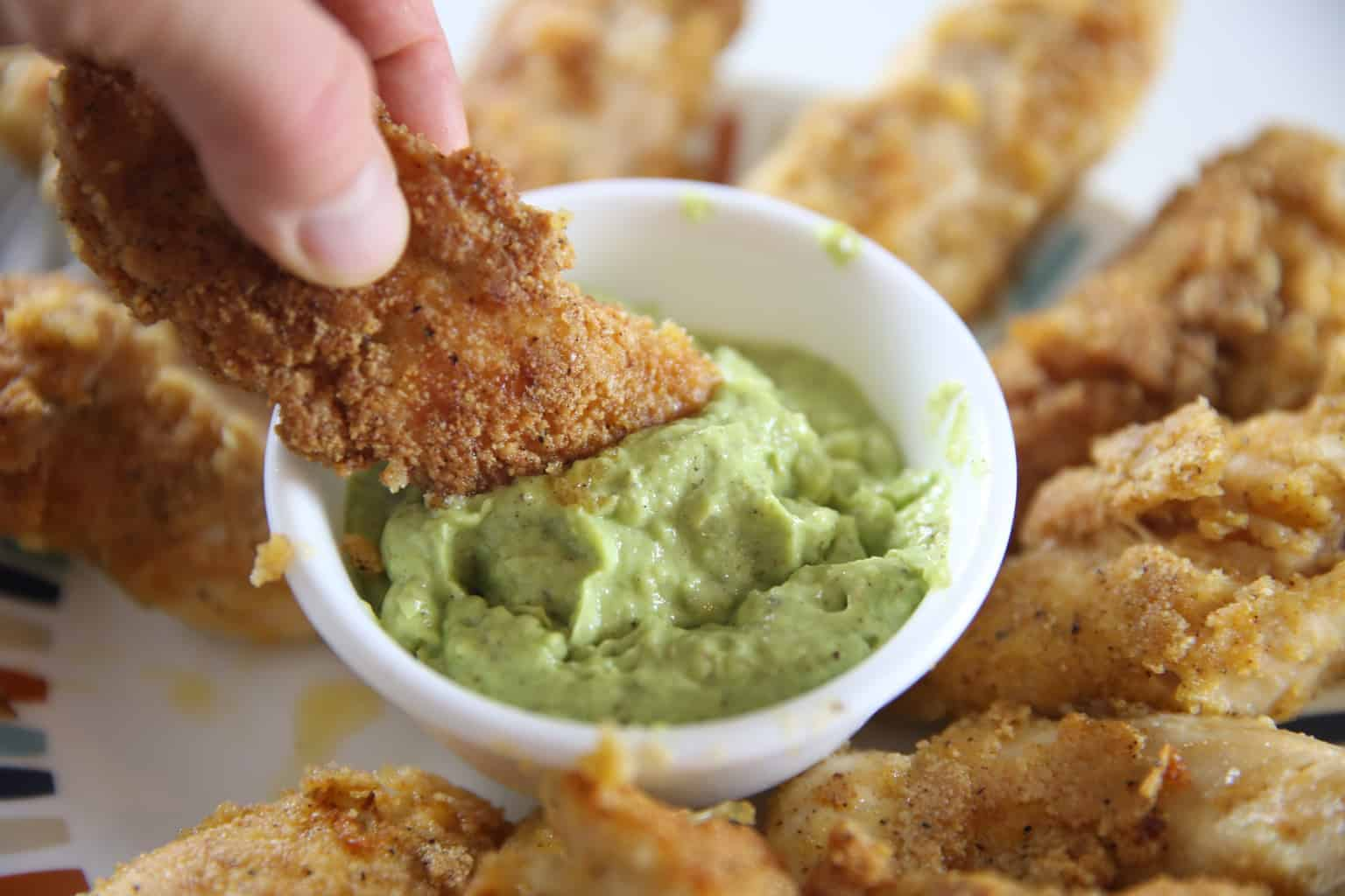 Whole 30 dipping sauce for chicken, creamy avocado dipping sauce.