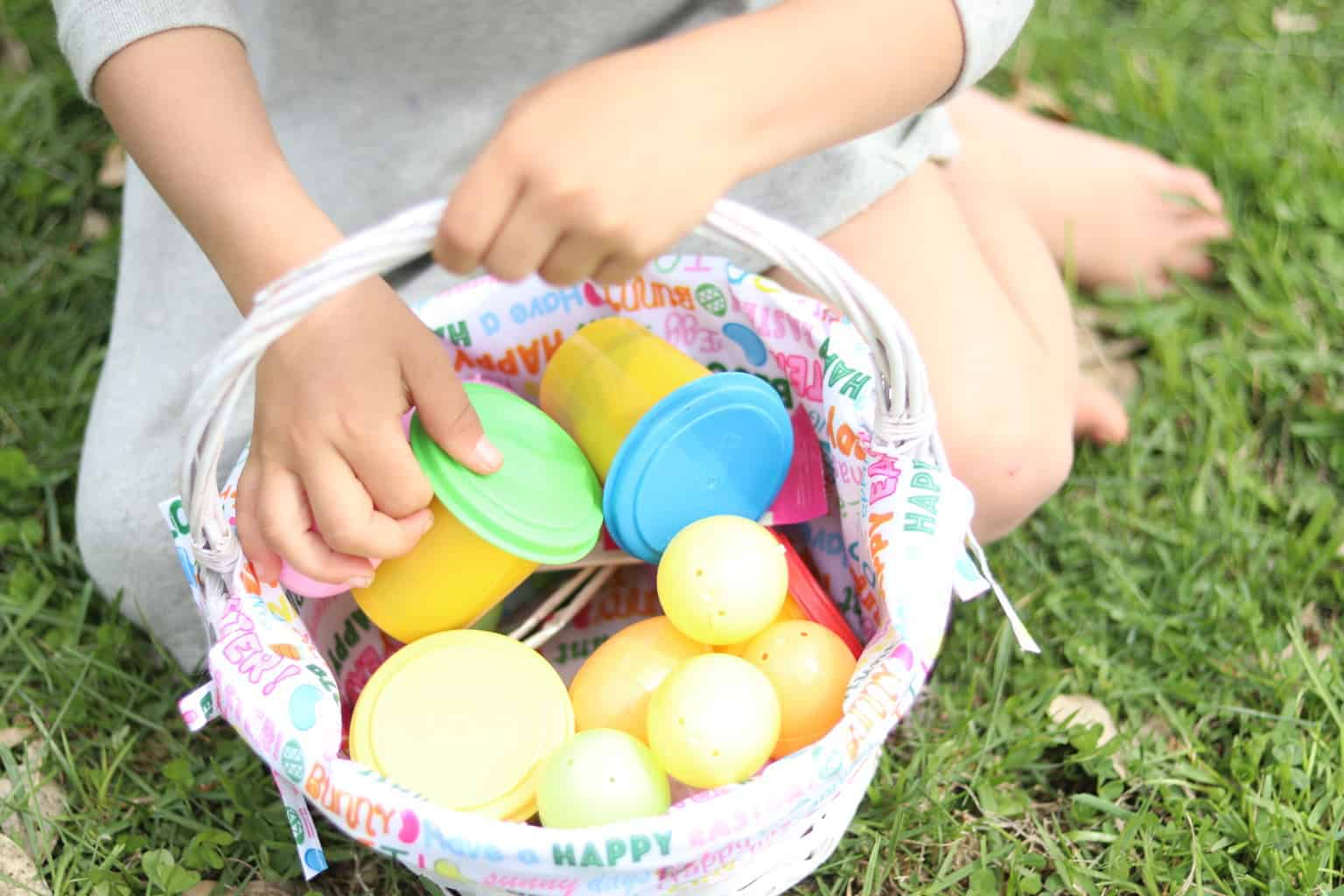This year fill your kid's Easter basket with inexpensive toys, Lara Bars, fruit leather, and other healthy treats.